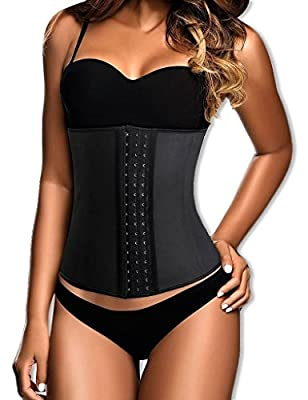Everbellus Latex Waist Trainers Corsets Steel Boned for Women