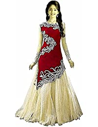 sat creation Girl's Velvet & Net Semi-Stitched Lehenga Choli (Red_8-12 Years)