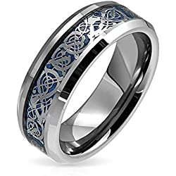 Bling Jewelry Bling joyería celta Dragon Blue Inlay Anillo de Bodas de tungsteno de 8mm