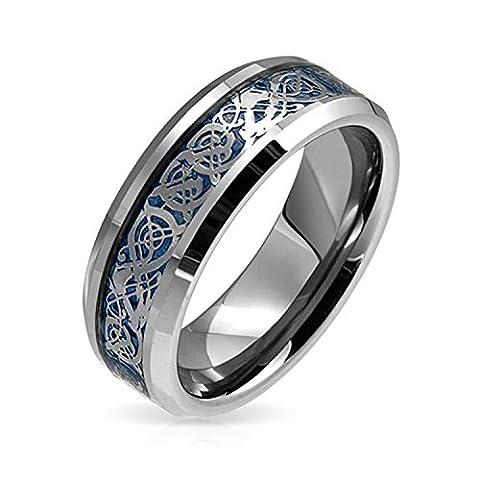 Bling Jewelry Keltischer Drache Blau Inlay Tungsten Wedding Ring 8 mm