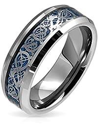 Bling Jewelry Bling joyería celta Dragon Blue Inlay Anillo de Bodas de tungsteno de 8mm
