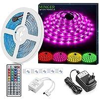 Minger Kit de Ruban à LED Etanche 5M 5050 RGB SMD Multicolore Bande LED Lumineuse avec Télécommande à Infrarouge 44 Touches et Alimentation 12V