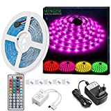 Minger Kit de Ruban à LED Etanche 5M 5050 RGB SMD Multicolore Bande LED Lumineuse...