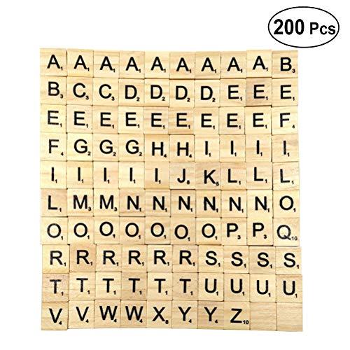 Vosarea 200 STÜCKE 26 Englisch Buchstaben Holz Kinder Früherziehung Puzzle Buchstaben Spiel Holz Block Chips