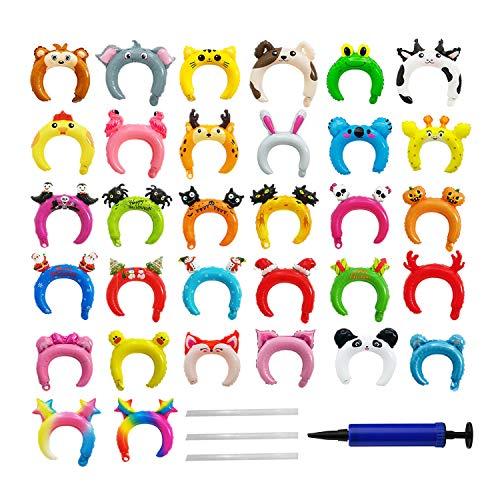OOTSR 32 Piezas Diademas inflables, Globo de Aluminio Diadema de Animales para cumpleaños / Boda / Halloween / Suministros de Fiesta de Navidad, con 3 pajitas, 1 Bomba