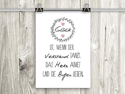 artissimo, Poster mit Spruch, Din A4, PE0078-DR, Glück ist.., Bild