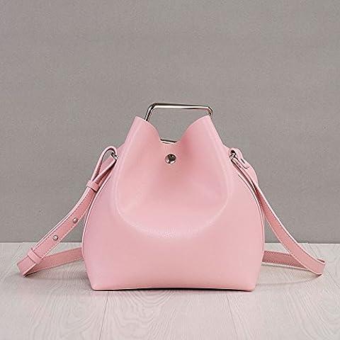 Versión coreana de la elegante piel señoras bolso de hombro, Nude pink