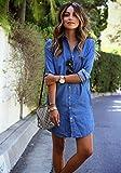 GS~LY Cadeau Manches longues occasionnels femmes robe chemise en jean
