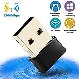 Clé WiFi 1200Mbps USB 3.0 WiFi Adaptateurs de réseau Longue Portée, Adaptateur WiFi 5dBi avec 2 Antenne Double Bande (2.4G/300Mbps+5G/867Mbps),Dongle WiFi pour PC à Windows 10/8/7 / XP
