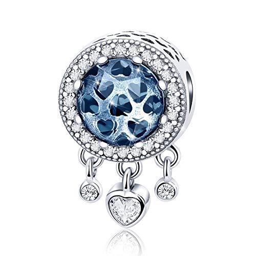 Abalorio compatible con pulseras Pandora, de plata de ley, con diseño de atrapasueños, con cuentas de cristal azul