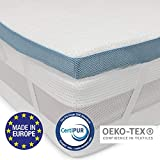 Viscoelastischer Topper (160 x 200 cm) - Orthopädische Matratzenauflage in Europa hergestellt und OEKO TEX zertifiziert - Rutschfeste Unterseite, 4 Eckbänder - Bezug aus Bambusviskose mit Reißverschluss