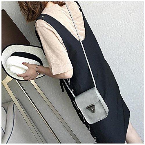 Xmansky Mädchen Retro Einfach Tasche Mini Crossbody Schulter Tasche Grau