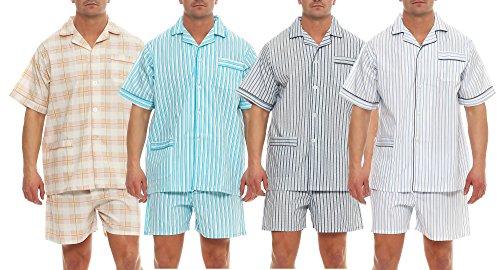 Klassischer Pyjama Kurzarm Schlafanzug Batist Knopfleiste Marke Grösse 48 - 56 hell gestreift