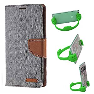 Aart Fancy Wallet Dairy Jeans Flip Case Cover for MicromaxA104 (Grey) + Flexible Portable Mount Cradle Thumb OK Designed Stand Holder By Aart Store.