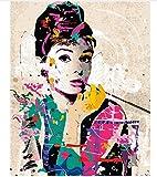 WGXCC Frameless Wall Decor Bilder Malen Nach Zahlen Handgemalt Auf Leinwand Gemälde Audrey Hepburn Moderne Abstrakte Ölgemälde