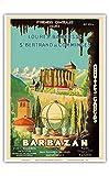 Pacifica Island Art Barbazan-Central Pyrenees Francia-Catedral de Sainte-Marie-Grottes de Gargas (Cuevas de Gargas)-Cartel del Viaje del Mundo del Vintage por P. Seignouret c.1935-13inx19