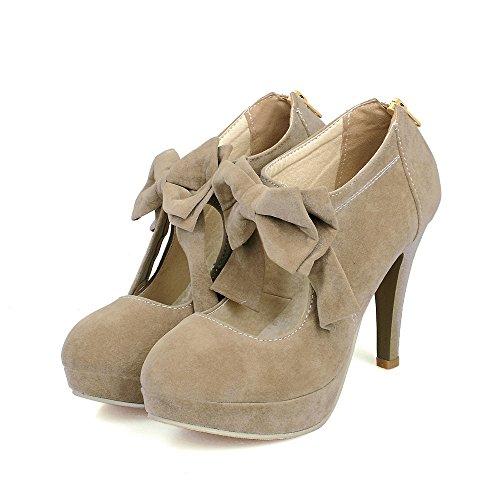 Frauen Extreme High Bow Mode Runde Zehe Pumps Hochzeit Kleid Stiletto Slip On Schuhe,Camel-EU33=215 (Kleid Satin Bow)