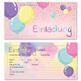 Any Age Art Luftballons 12 Einladungskarten - Kindergeburtstag Einladungen Kinder Mädchen Geburtstag Karten Feier Party Ballons (Rosa 12 Einladungskarten)