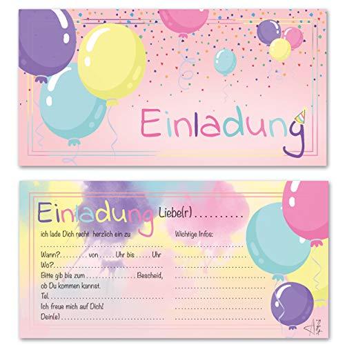 Any Age Art Luftballons Einladungskarten mit Umschlägen Set 12 - Kindergeburtstag Einladungen Kinder Mädchen Geburtstag Karten Feier Party Ballons (Rosa 12 Einladungskarten)