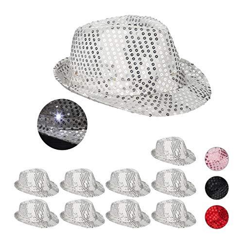 Relaxdays 10 x Pailletten Hut, 6 blinkende LEDs, mit Glitzer, Männer & Frauen, JGA, Fasching, Partyhut, Einheitsgröße, silber