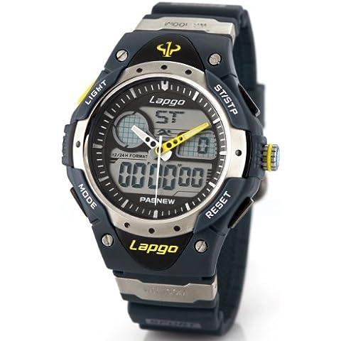 Alienwork Reloj Digital- Analógico Multi-función LCD Resistente al agua 10ATM Goma negro negro PLG-388AD-03