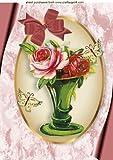 Craft-Foglio A4-Vaso da fiori ovale, colore: crema/oro, in cornice, formato A4, con farfalle, un grazioso biglietto può essere osservato guarnizioni, basta aggiungere sparkle