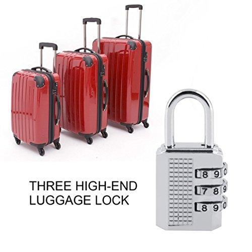 3/4 Dial Kombination Vorhängeschloss Türschloss Toolbox Gepäck Koffer Lock (Farbe: Silber)
