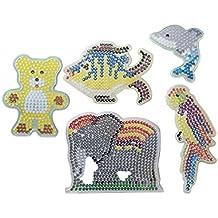 Bügelperlen Stiftplatten Tiere, Bügelperlen Steckplatten, 5 verschiedene Motive Elefant, Bär, Papagei, Fisch, Delphin