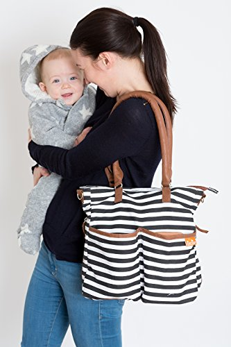 Nappy Bag Designer Elegant, Functional and Durable, Includes Nappy Changing Mat, Insulated Baby Bottle Holder – Perfect Baby Shower Gifts – Bonus Ebook