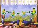 Frösche im Teich - Girlande und Fensterbild für Gartenlaube und Garten-Party oder Kinderfenster Küchenfenster oder Kinderparty - Breite bis 200 cm variierbar