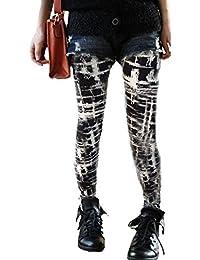 Galleria fotografica Aimerfeel donne legging in bianco e nero graffiti controllati con fodera in pile formato 38-42