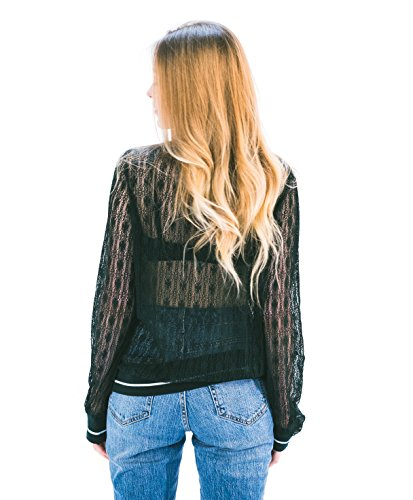 Sweat-shirt en dentelle pour femme, à motif floral rose, top à manches longues Vert