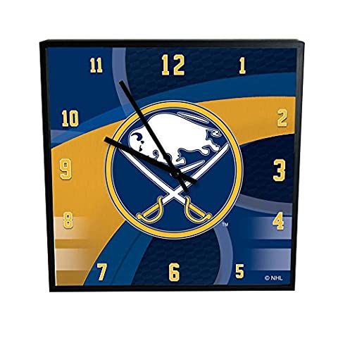 NHL Buffalo Sabres Official Carbon Fiber Square Clock, Multicolor, One Size
