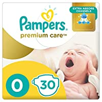 Pampers Premium Care Diapers, Size 0, Newborn, 2,5 kg, Carry Pack, 30 Count