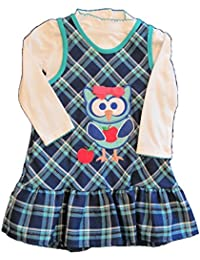 Youngland Toddler Girls Turtleneck &Plaid Owl Jumper Dress Set