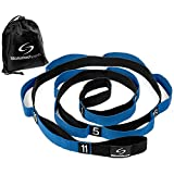 Stretching Strap – Yoga Stretch Assist Strap with 12 Numbered Loops – Improve Flexibility for Dance, Gymnastics, Rugby, Football and Injury Rehab (Black with Blue)