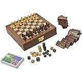 Juego De Mesa De Madera Para Los Adultos Tres En Uno Backgammon Ajedrez Y Cartas De Juego De Dominó, Tamaño: 20.3 Cm