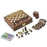 gioco da tavolo in legno per adulti tre in uno scacchi backgammon e domino carte da gioco, dimensione: 20,3 cm
