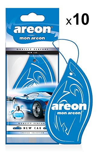 AREON Mon Auto Duft New Car Neues Auto Neuwagen Lufterfrischer Autoduft Blau Hängend Aufhängen Anhänger Spiegel Pappe 2D Wohnung (Set Pack x 10) -