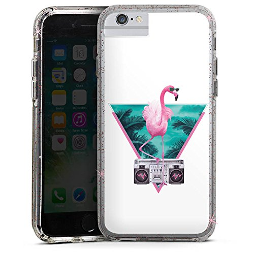 Apple iPhone 7 Bumper Hülle Bumper Case Glitzer Hülle Flamingo Triangle Dreieck Bumper Case Glitzer rose gold