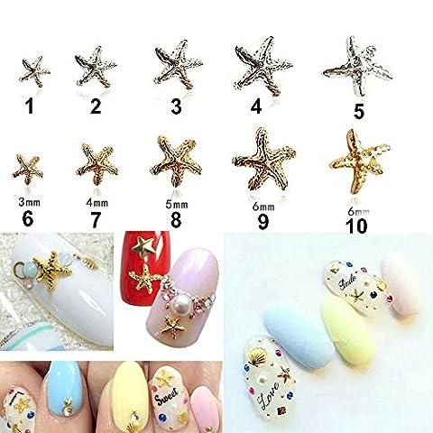 10pièces/lot Océan Style en alliage Nail Sticker 3D en métal argent et or étoiles de mer Nail Art Décoration