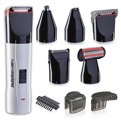 BaByliss - Kit de corte T839E – Set de afeitado eléctrico multifunción barba y cuerpo, con recortador de nariz y orejas, cuchillas de acero inoxidable, lavable