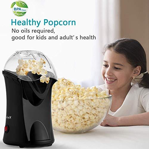 Rendio Popcornmaschine für Zuhause zum selber machen, 1200W Heißluft Popcorn Maker, Weites-Kaliber-Design mit Messbecher und abnehmbarem Deckel, Schwarz