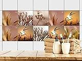 GRAZDesign 770363_15x15_FS10st Fliesenaufkleber Bad - Fliesen zum Aufkleben | Fliesen mit Fliesenbildern überkleben | 10 Landschafts - Motive | selbstklebende Folie für Badezimmer (15x15cm // Set 10 Stück)