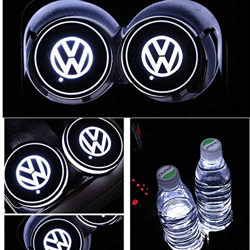 PRXD 2pcs LED Auto Cup Halter Matte Pad Wasserdicht Flasche Getränke Untersetzer für Universal Auto zur Autodekoration Stimmungslicht Innenraumbeleuchtung wasserdicht (Volkswagen)