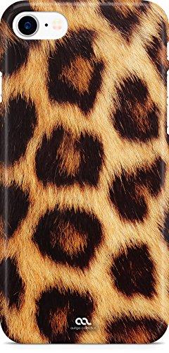 Autiga iPhone 7 Hülle Leopardenfell Tierfell Leopardenfell Tiermuster Fell Muster Leoparden-Muster Handyhülle Handy Case Hardcover Schutzhülle Hardcase Moonworks® weiß
