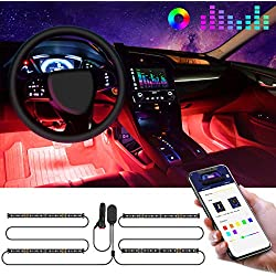 Interior Car Lights, Govee Car LED Strip Light Upgraded Two-Line Design Waterproof 4pcs 48 LED APP Controlled Lighting Kits, Multi DIY Colour Music Under Dash Car Lighting with Car Charger, DC 12V