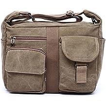 ENKNIGHT Bolso bandolera bolsas de mensajero bolsa de hombro de la taleguilla oblicua de la lona del bolso Vintage para mujer y hombre,31cm x 24cm x 13cm