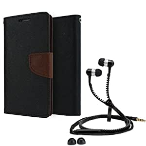 Aart Fancy Diary Card Wallet Flip Case Back Cover For Mircomax Q372-(Black brown) + Zipper earphones/Hands free With Mic *Stylish Design* for all Mobiles By Aart store