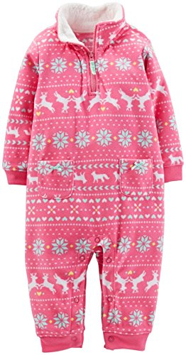 Carter 's Baby Mädchen Fleece Strampler Gr. 18 Monate, Rose - Carters Baby Girls Kleid